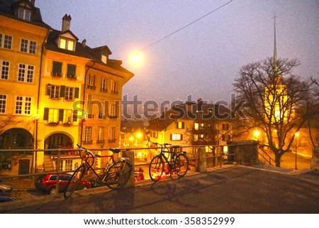 Bern  Switzerland-DECEMBER 5, 2015: Night cityscape of Bern on Christmas time on December 5, 2015 in Bern, Switzerland