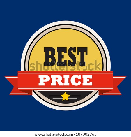Best price - label with red  ribbons. - stock photo