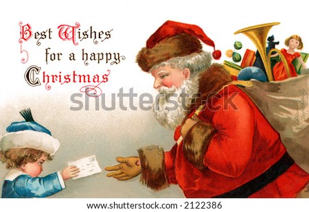 'Best Wishes for a happy Christmas' - Santa Claus receives a letter from a child - a circa 1907 vintage greeting card illustration by Ellen Clapsaddle.