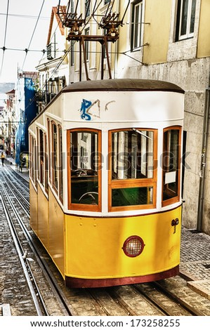 Bica funicular in Lisbon, Portugal  - stock photo