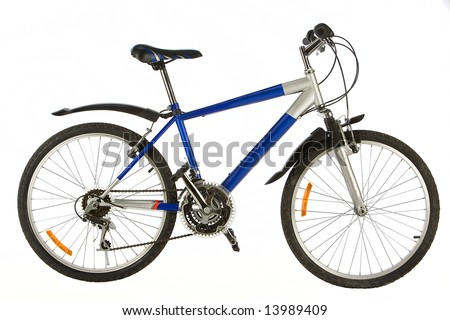 bicycle close up on a white background