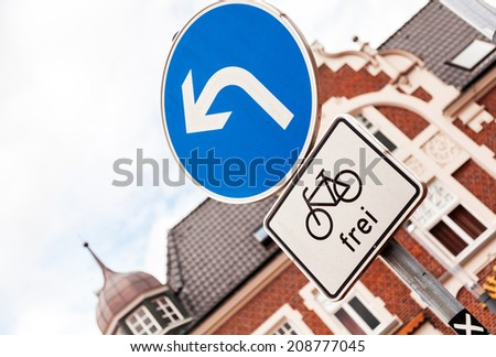 Bicycle path road sign. Free zone - stock photo