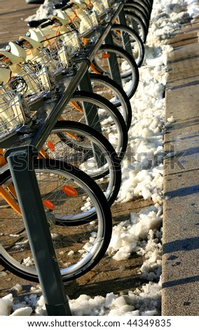"""bicycles-rental-city-Italy-Milan"" - stock photo"