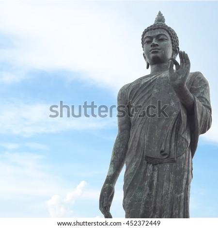 Big Buddha in Phutthamonthon-Nakhon Pathom. This is a landmark of Buddhist in thailand. - stock photo