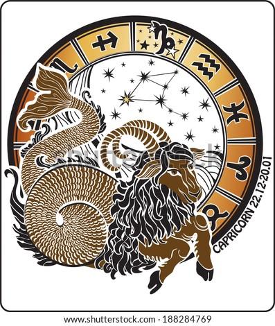 Big Capricorn and symbols of all zodiac signs :Aries,Taurus, twins ,cancer,Leo,Virgo,Libra,Scorpio,Sagittarius,Aquarius,Pisces.Horoscope circle. On a white background.Graphic Illustration.   - stock photo