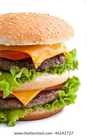 Big fresh delicious homemade double hamburger - stock photo