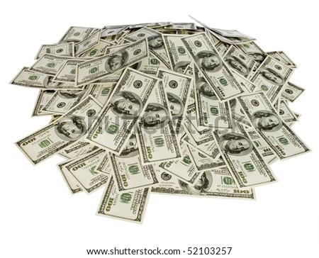 big pile of money. stack of american dollars - stock photo