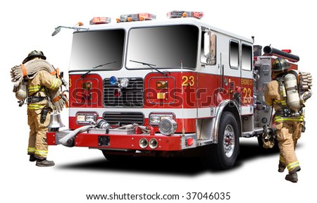 Big Red Fire Truck Isolated on White - stock photo