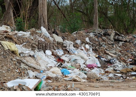 big waste at landfill site - stock photo