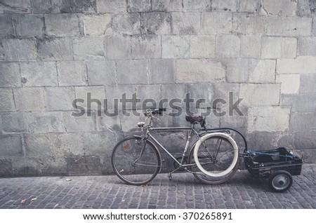 bike trailer for kid - stock photo