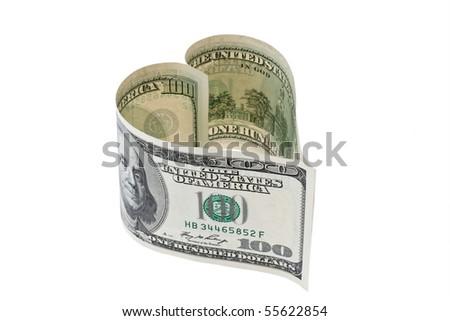 $ 100 bill in heart shape - stock photo