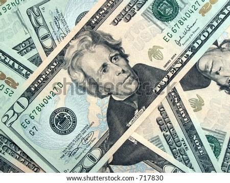 $20 bills - stock photo