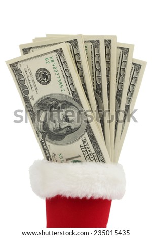 $100 bills on Holiday/Lot of one hundred dollars - stock photo