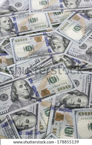 $100 Bills Scattered - stock photo