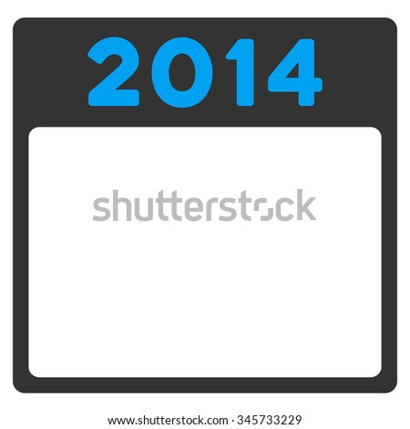 2014 Binder glyph icon. Style is bicolor flat symbol, blue and gray colors, rounded angles, white background.