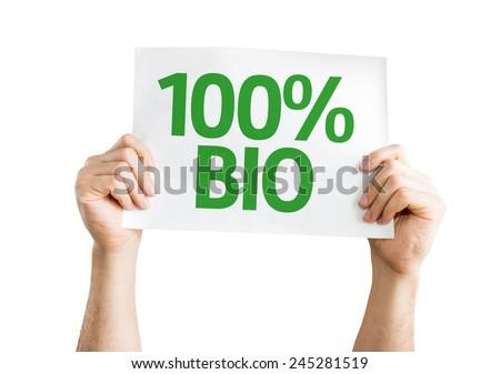100% Bio card isolated on white background - stock photo