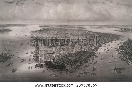 1851 bird's eye view of New-York, looking north over the length of Manhattan with Battery Park and Castle Garden in the foreground.