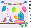 Birthday card with cute birds. Set of icons owls. Raster version - stock photo
