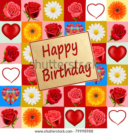 Birthday card with roses, hearts and daisies - stock photo
