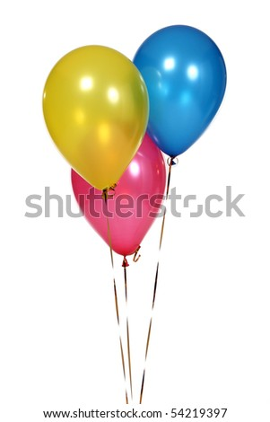 3 Birthday Celebration Balloons Isolated on White Background