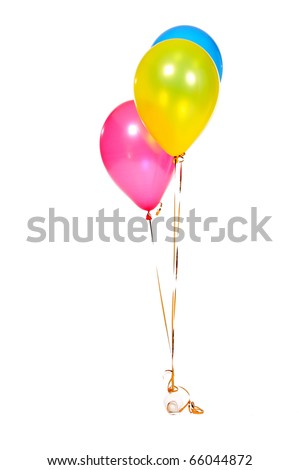3 Birthday Celebration Balloons Isolated on White Background - stock photo