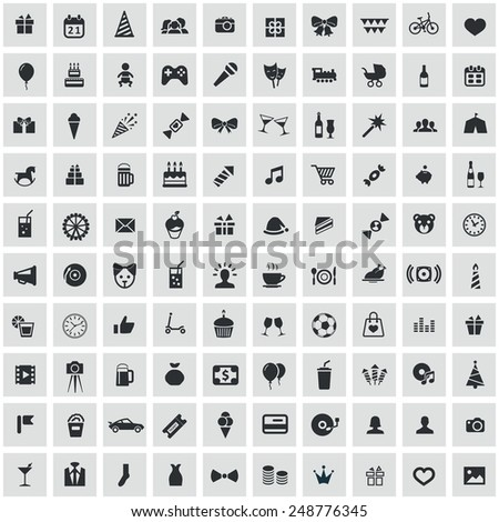 100 birthday icons, black on square gray background  - stock photo