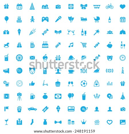 100 birthday icons, blue on white background  - stock photo
