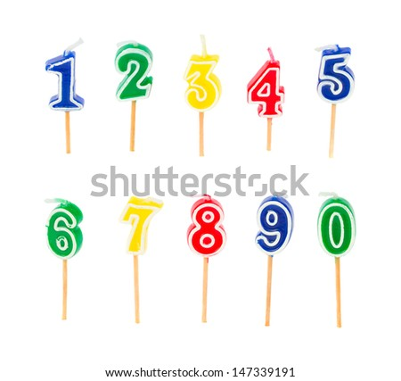 birthday multicolored candles numbers isolated on white background - stock photo
