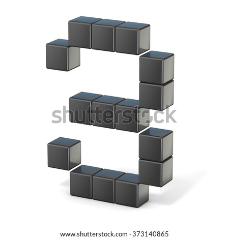 8 bit font. Number 3. 3D render illustration isolated on white background - stock photo