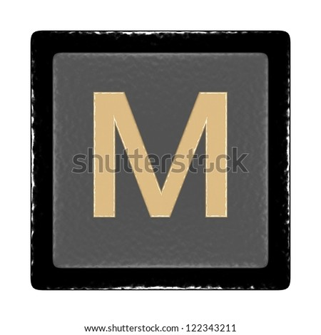 black and gray icon with a leather texture and the letter m