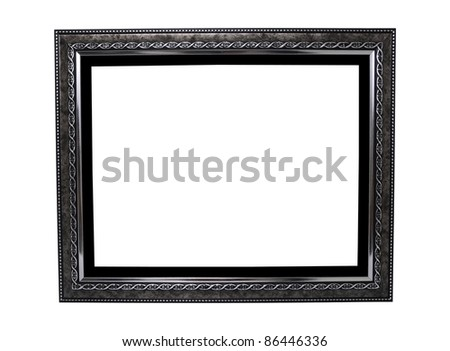 Black and silver wood frame isolated on white background - stock photo