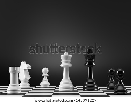 Black and White Chess Pieces  - stock photo