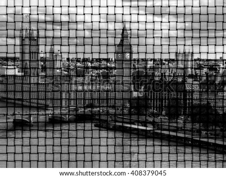 Black and white cityscape from London Eye with houses of Parliament , Big Ben  and  Westminster Abbey on the mat background - stock photo