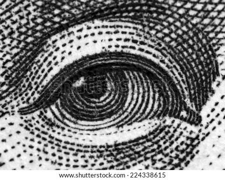 Black and white, Dollar USA, eye. Extreme closeup.Macro - stock photo
