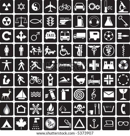 81 black and white icons, symbols collection - stock photo