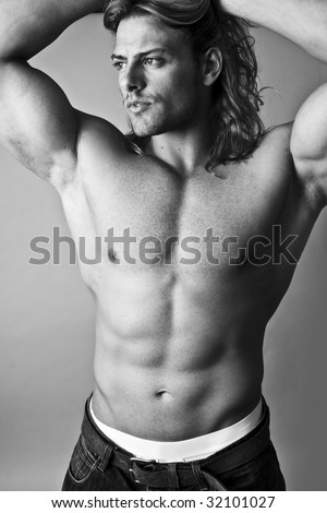 black and white male model topless sexy torso - stock photo