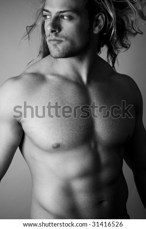 black and white male sexy torso - stock photo