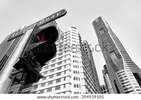 Black and white of the Singapore  financial distric - stock photo