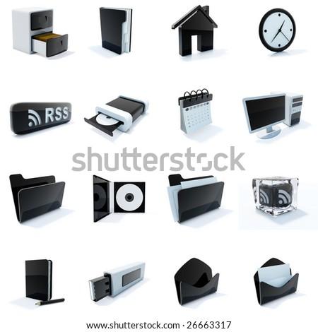 16 black and white plastic icons - stock photo