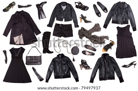 black clothes for women isolated on white background - punk style