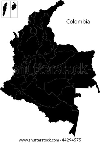 Black Colombia map with department borders - stock photo