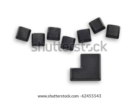 7 Black computer button with enter button isolated on white - stock photo
