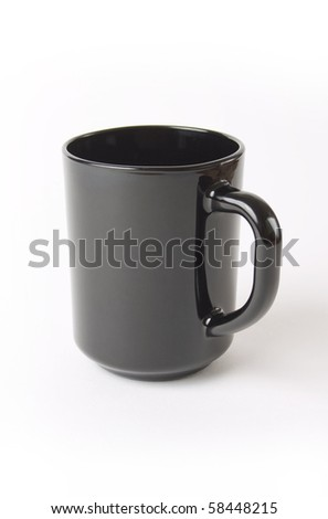 black empty ceramic cup of coffee and tea isolated on white background