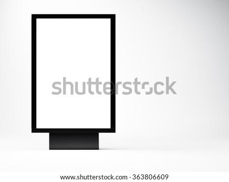 black empty lightbox in the studio. Blank white wall background. Left side. 3d render - stock photo