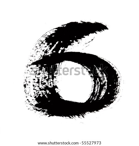 6 - Black ink numbers over the white background - stock photo