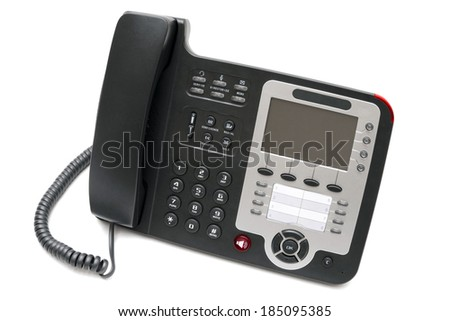 Black IP phone close up isolated on white background close up - stock photo