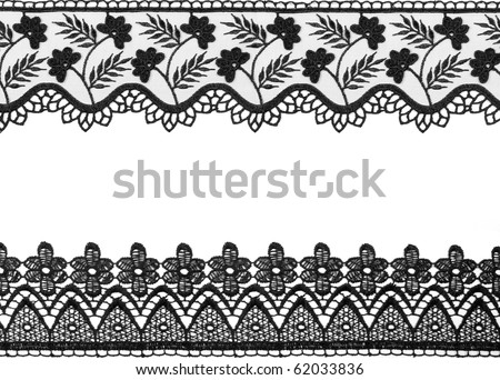 black lace isolated on the white  background - stock photo