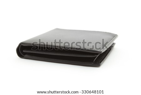 Black leather men purse on a white background