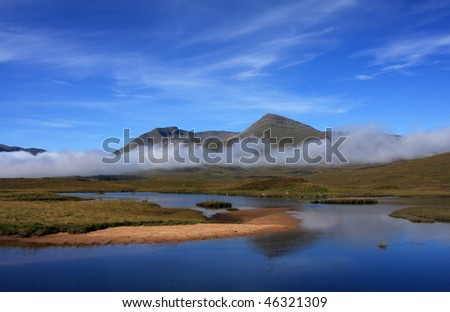 Black Mount and Lochan na Stainge. - stock photo