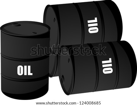 Black oil barrel concept isolated on white. - stock photo